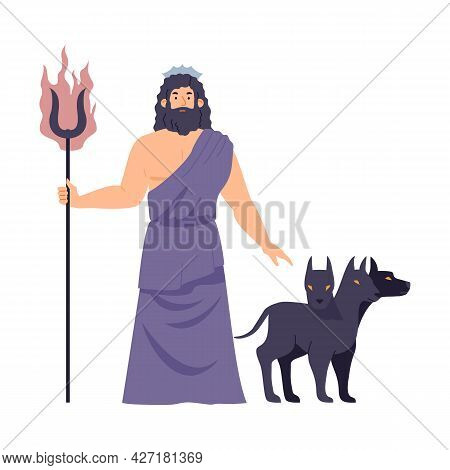 Greek God Of Underworld Hades Or Roman Pluto, Flat Vector Illustration Isolated.