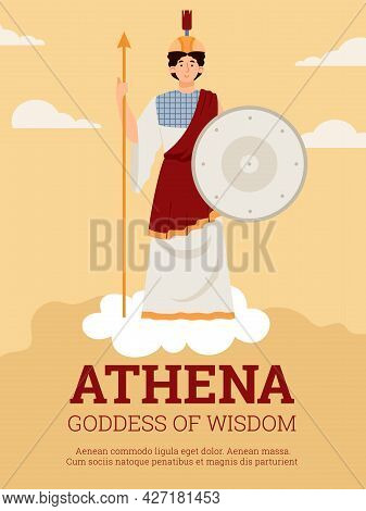 Poster With Athena Goddess Of Wisdom, Warfare And Arts In Ancient Greek Myths.