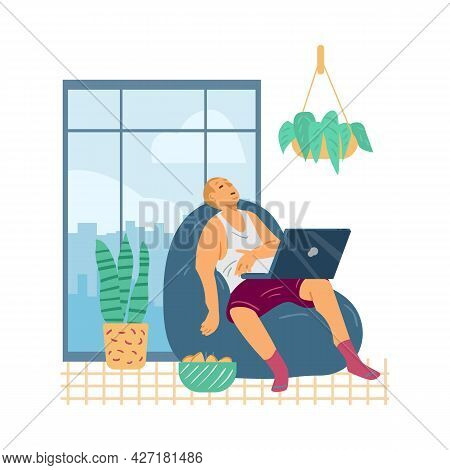 Lazy Tired Man With Laptop Computer Sleep In Armchair A Vector Illustration