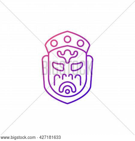 Ghost Mask Museum Gradient Linear Vector Icon. Taipei Attractions. Depict Disfigured Creepy Creature