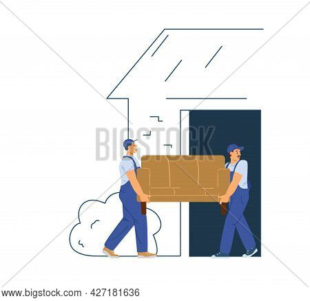 Workers Of Delivery Service Company Carrying Sofa Into New Office Or House.