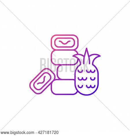 Pineapple Cake Gradient Linear Vector Icon. Sweet Traditional Taiwanese Pastry. Taiwanese Cuisine. T