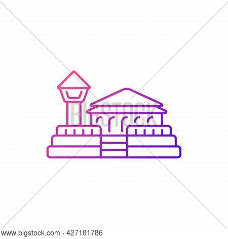 Fort Zeelandia Gradient Linear Vector Icon. Taiwan Solid Fortress Against Enemy. Middle Age Oriental