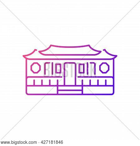 Longshan Temple Gradient Linear Vector Icon. Taipei Old Village Part. Ancient Building. Taiwan Natio