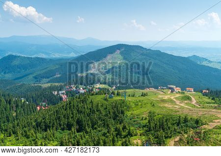 Panoramic View Of The Dragobrat Resort In Ukraine And The Carpathian Mountains
