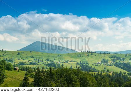 Summer Mountainous Rural Landscape View With A Old House And Spruce Carpathian Ukraine