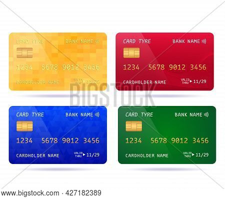 Set Of Colored Credit Cards With Different Designs. Golden Unlimited Card Vector Illustration Isolat