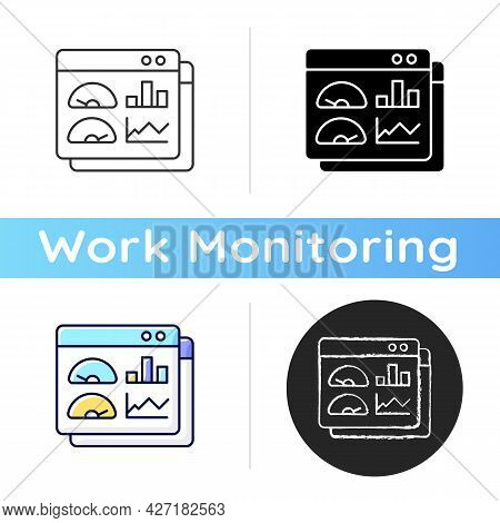 Productivity Dashboard Icon. Performance Statistics. Presentation For Productivity Evaluation. Repor