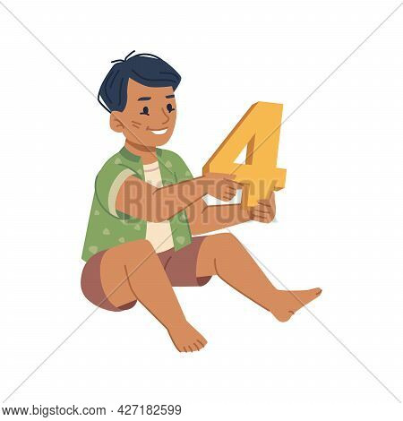 Boy Kid Learning To Count, Isolated Kiddo With Plastic Toy In Shape Of Number. Education And Develop