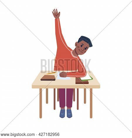 Student Sitting By Desk With School Supplies Raising Hand, Asking Or Answering Kid By Table. Studyin