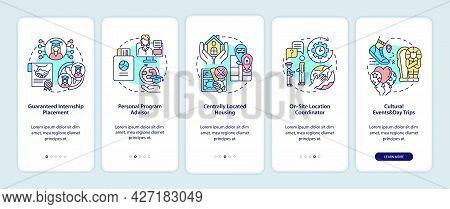 Internship Program Benefits Onboarding Mobile App Page Screen. Placement, Advisor Walkthrough 5 Step