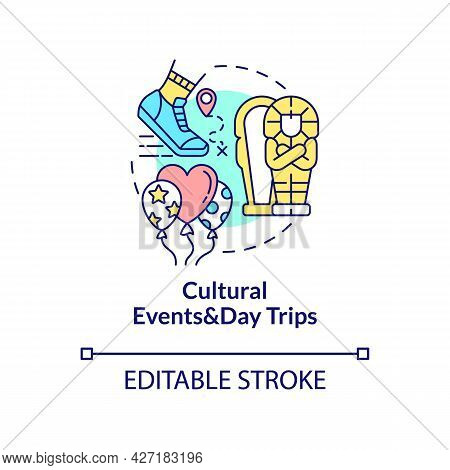 Cultural Events And Day Trips Concept Icon. Internship Program Benefit Abstract Idea Thin Line Illus