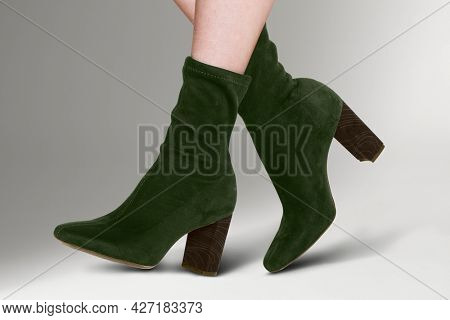 Velvet ankle boots with high heels women's fashion