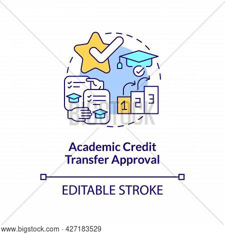 Academic Credit Transfer Approval Concept Icon. International Intern Requirement Abstract Idea Thin