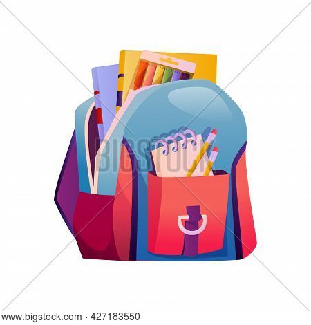School Bag With Supplies, Pencils And Books. Isolated Knapsack With Open Pockets. Textbook And Crayo