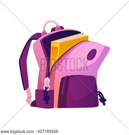 Feminine Satchel With Open Pocket And Textbook, Isolated School Bag With Straps And Handle. Design O
