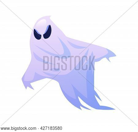 Halloween Ghost With Furious Look, Isolated Evil Monster Of All Hallows Eve In October. Party Costum