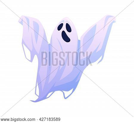 Shouting Or Screaming Evil Halloween Ghost With Terrible Facial Expression. Scary Floating Apparitio