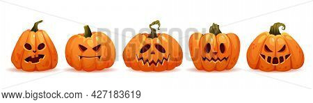 Evil And Kind Facial Expression Of Halloween Pumpkins, Isolated Faces With Bad And Good Emotions. Ca