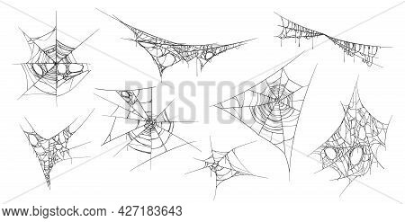 Spooky Cobweb Hanging Threads Made By Spiders. Isolated Set Of Sticky Web, Halloween Decoration. Mes