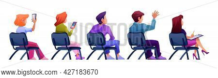 Audience Sitting On Chairs, Isolated Journalist, Listeners Or Spectators On Meeting Or Gathering. Pe