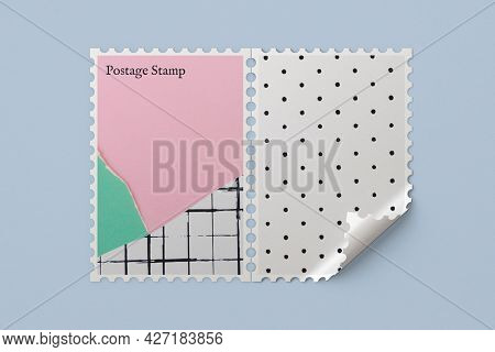 Cute paper collage design on postage stamp with design space