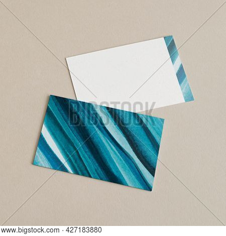 Business cards aesthetic ombre watercolor style with design space