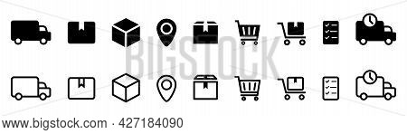 Delivery Icons Set. Black Filled And Outline Collection. Shipping Pictograms. Logistic Shipment Icon