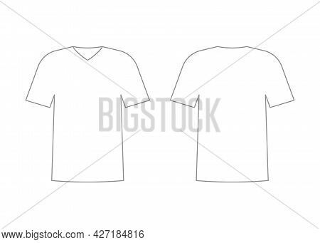 Mens White T-shirt Outline Template With Short Sleeve And V Neck. Shirt Mockup In Front And Back Vie