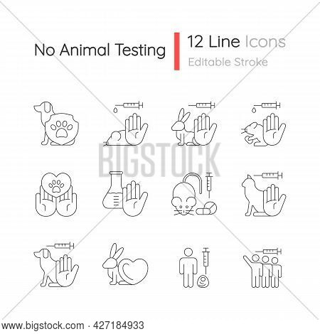 No Animal Testing Linear Icons Set. Dog And Cat Protection. Cruelty Free Label For Cosmetic. Customi