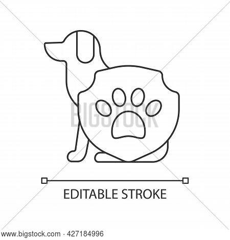 Animal Protection Linear Icon. Pet Welfare Label. Cruelty Free Mark For Vegan Brand. Thin Line Custo