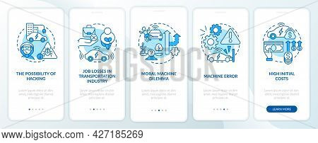 Driverless Cons Onboarding Mobile App Page Screen. Self-driving Negatives Walkthrough 5 Steps Graphi