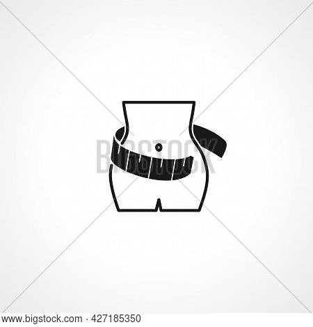 Weight Loss Icon Or Logo - Vector Symbol Of Woman With Measuring Tape