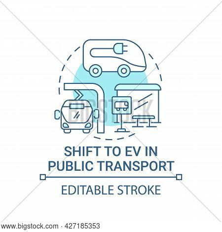 Eco Green Public Transport Concept Icon. Electric Vehicle Transit Efficiency Abstract Idea Thin Line