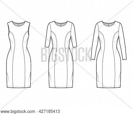 Set Of Dresses Princess Line Technical Fashion Illustration With Long Elbow Short Sleeve Sleeveless,