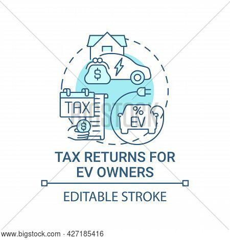 Ev Owners Tax Returns Concept Icon. Green Car Zero Emissions Abstract Idea Thin Line Illustration. A