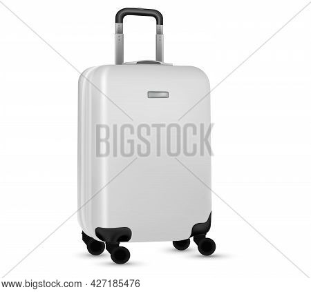 Baggage Isolated. Set Of White Travel Plastic Suitcase Or Vacation Bag On White Background. Summer V