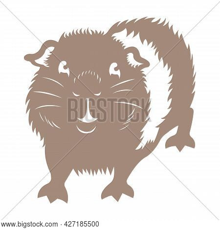 Silhouette Of A Joyful Guinea Pig In A Flat Style. The Design Can Be Used For A Logo, Tattoo, Mascot
