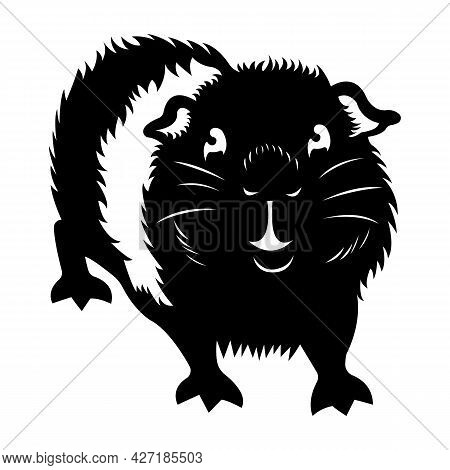 Silhouette Of A Black Guinea Pig In A Flat Style. Design Is Suitable For Logo, Tattoo, Mascot, Roden