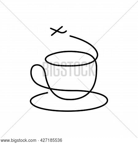 Silhouette Of A Cup With A Saucer Instead Of Steam The Plane Takes Off. Concept For Coffee And Tea L