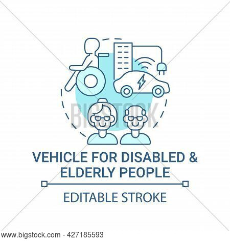 Transport For Disabled And Elderly People Concept Icon. Driverless Car Possibility. Transforming Mob