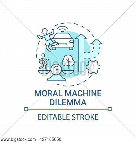 Moral Machine Dilemma Concept Icon. Autonomous Decision. Artificial Intelligence Abstract Idea Thin