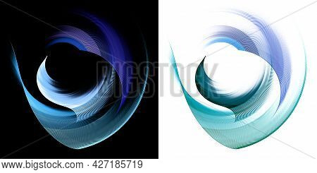 Blue Wavy And Arched Striped Elements Rotate On Black And White Backgrounds. Graphic Design Elements