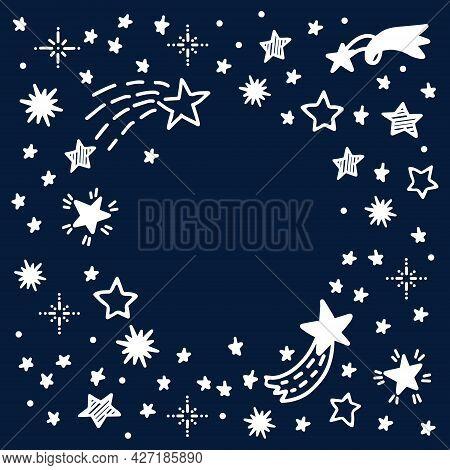 Stars And Comets Hand Drawn Doodle Frame. Starry Doodles Vector Illustration On The Dark Blue Backdr