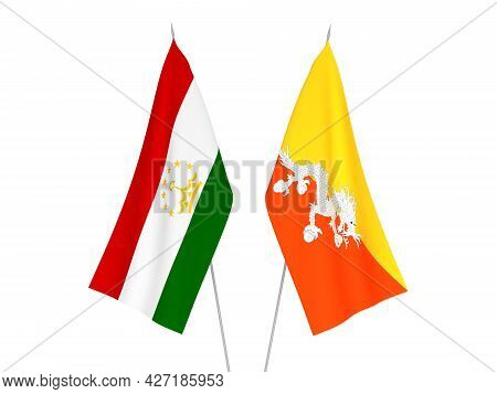National Fabric Flags Of Tajikistan And Kingdom Of Bhutan Isolated On White Background. 3d Rendering