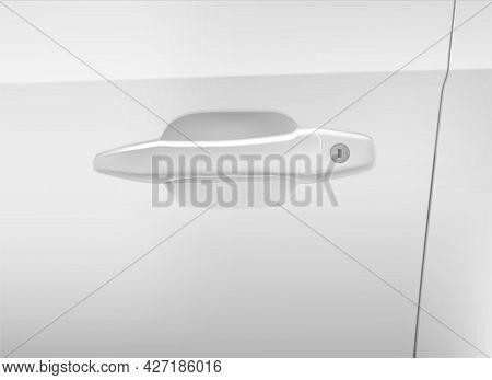 Realistic Detailed 3d White Car Door Handle. Vector