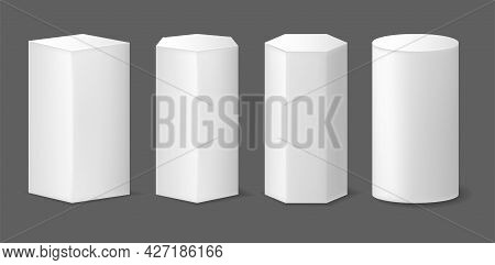 Realistic Detailed 3d Abstract Geometric Pedestals Podiums Set. Vector