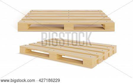Realistic Detailed 3d Wooden Pallet Set. Vector