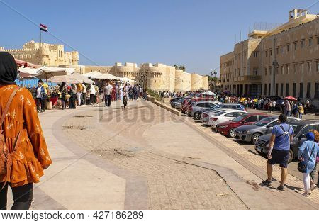 Alexandria - Egypt - October 08, 2020: Beautiful Old Fortress, Citadel Of Qaitbay With Many People.
