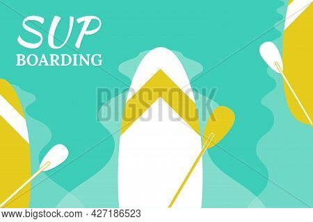 Stand Up Paddle- Inflatable Board, Paddle An Water Background.  Vector Illustration, Flat Style, Bac